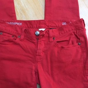 J crew red toothpick jeans size 26